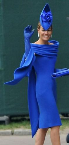 Tara Palmer-Tomkinson fails to impress the fashion crowd in this matching outfit, topped off with a blue boat-shaped headpiece by Philip Treacy, the milliner of choice for many royal wedding guests.