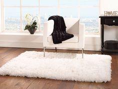White Shaggy Designer Rug 80x150 cms