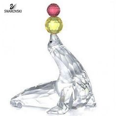 "Swarovski Crystal Figurine PLAYING SEAL Retired Size: 3""x 2.25"" #622526 In a perfect condition Comes in Swarovski Gift Box NO original box"
