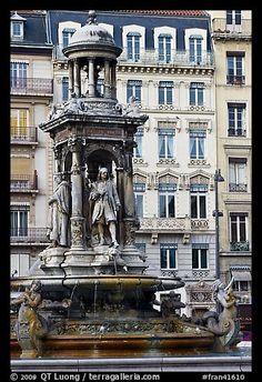 Monumental fountain. Lyon, France