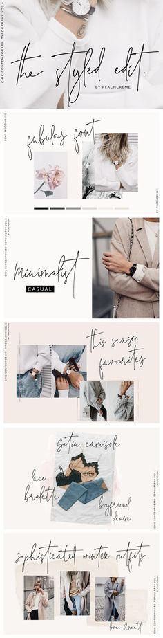 The Styled Edit- Chic Ligature Font by PeachCreme on These fun handwritten fonts brought to you by an affiliate ad link. Fonts styled right. Design Web, Font Design, Fashion Logo Design, Design Ideas, Layout Design, Blog Logo, Alphabet Design, Alphabet Fonts, Webdesign Inspiration