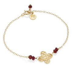 Złoty łańcuszek z granatami i rozetką #bracelet #gold #love #valentines #red #jewellery #jewelry #mokobelle