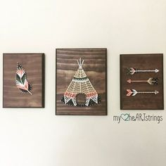 Love my Tribe string art trio Set includes: feather (7x9 in plaque) Arrows (7x9 in plaque) Teepee (8x 10 in plaque) Stain and string colors can be customized to your color choices.