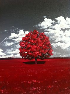 Acrylic painting Red Lone Tree 25x25cm by AlexandraMarionArt on Etsy