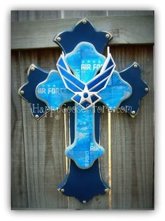 United States AIR FORCE Wall CROSS with wings, 3-layers, by Happy Goose