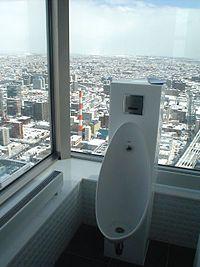 札幌駅に隣接するJRタワーの展望男子トイレ(Wikipedia「便所」より)