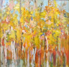 "Spring Green & Tangerine Show at Framed Image ""Angels in the Aspens"" by Amy Jackson Dixon 24x24  $2500"