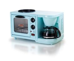MaxiMatic EBK-200 Elite Cuisine 3-in-1 Multifunction Breakfast Deluxe Toaster Oven/Griddle/Coffee Maker, Blue Maximatic http://smile.amazon.com/dp/B00C8C5I9G/ref=cm_sw_r_pi_dp_P5uIwb0RKB8MW
