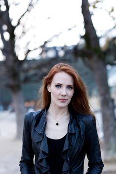 Simone Simons sexy red-headed female mezzo-soprano singer of Dutch symphonic metal band EPICA.