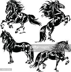 Vector Art : Four friesian horses