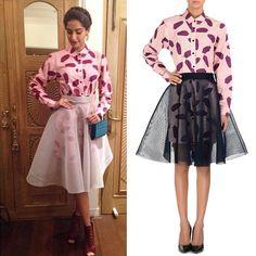 CELEBRITY STYLE! Sonam Kapoor looks stunning a banana leaf print shirt dress & a mesh skirt by Dhruv Kapoor.