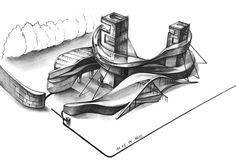 그린섬 Conceptual Architecture, Architecture Concept Drawings, Futuristic Architecture, Architecture Design, Architect Drawing, Facade Design, Building Design, Sketches, Illustration
