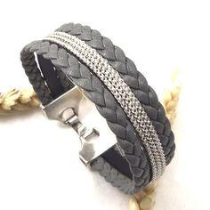 Kit tutoriel bracelet cuir manchette gris tresse avec chainette plaque argent : Kits, tutoriels bijoux par bijoux-giuliana