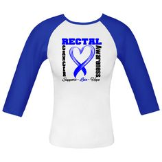 """Rectal Cancer Awareness Fitted Raglan T-Shirts spotlighting a stunning heart ribbon with the words """"Support, Love and Hope"""" to inspire while supporting your cause. $23.99 www.store.hopedreamsdesigns.com"""