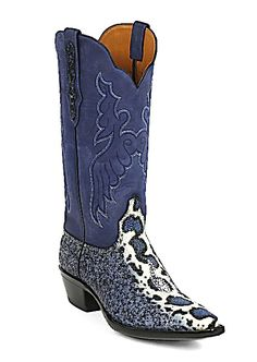 Cobalt Blue Stingray Boots | Austin custom boots