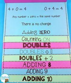 addition strategies for addition facts adding zero