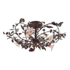 7046/3 | Cristallo Fiore 3 Light Flushmount In Deep Rust With Crystal Florets - 7046/3
