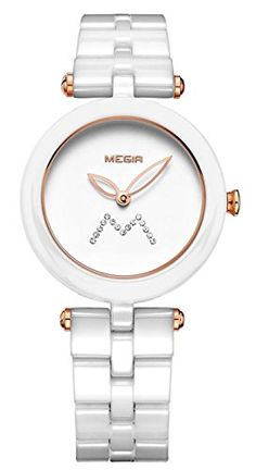 Mastop Womens Elegant Rhinestone White and Rose Gold Dial Ceramic Quartz Waterproof Watches -- Read more  at the image link. (This is an Amazon affiliate link)