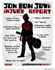 Injury Report of Jon Bon...from lyrics of his songs  Lmao!