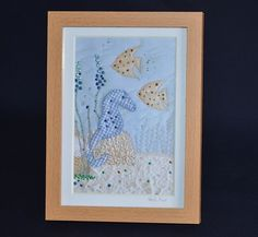 Sparkly blue Seahorse picture - first birthday, Christening or other gift £15.00