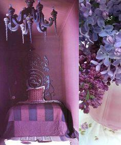 purple decor + bedroom and vase