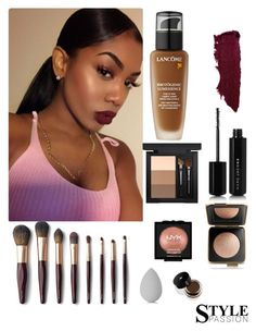 """GET THE LOOK: iamvalquiria"" by iamvalquiria ❤ liked on Polyvore featuring Lancôme, MAC Cosmetics, Marc Jacobs, Estée Lauder, NYX, beautyblender, makeup, fashionWeek and tutorial"