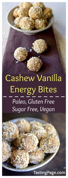 Paleo cashew vanilla energy bites are an inexpensive and easy gluten free and vegan snack that will keep you energized and going between meals | TastingPage.com #FueledbyBobs @BobsRedMill
