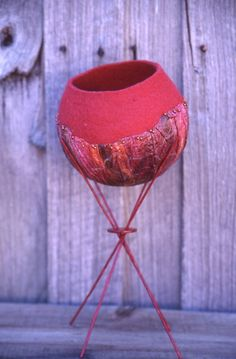 Martien van Zuilen - felted bowl on a stand