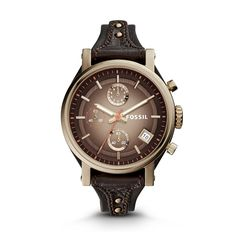 Original Boyfriend Chronograph Leather Watch \u2013 Dark Brown