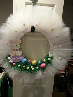 Tulle easter wreath