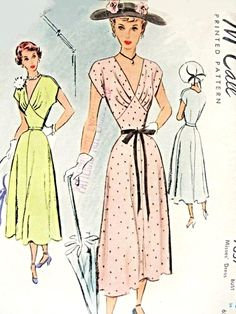 1940s Beautiful Dress Pattern Figure Flattering Deep V Neckline, Draped Bodice, Shaped Midriff Perfect Party Special Occasion Dress McCall 7657 Vintage Sewing Pattern Bust 34 UNCUT FACTORY FOLDED
