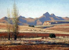 paintings by Roelof Rossouw - near Clarens, South Africa Landscape Drawings, Cool Landscapes, Watercolor Landscape, Landscape Photos, Landscape Art, Landscape Paintings, Africa Painting, Nature Paintings, Oil Paintings