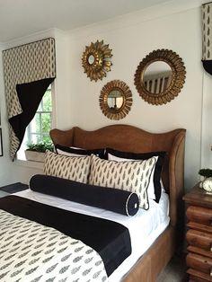 design indulgence: SERENBE SHOW HOUSE- brown headboard; black and white