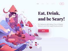 Spooky Island by Cal Esatama #dribbble #illustration #landingpage #digital #graphics #inspiration #design