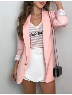 Women blazers and jackets 2019 solid Single Button Notched Pockets blazer feminino black blazer veste tailleur longue femme 0339 Blazer Outfits, Blazer Fashion, Casual Outfits, Cute Outfits, Fashion Outfits, Fashion 2017, Curvy Fashion, Look Fashion, Girl Fashion