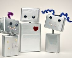 Pretty robot family  DIY from Curly Birds