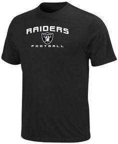 NFL Mens Oakland Raiders Line Of Scrimmage V Black Short Sleeve Crew Neck Tee by Majestic. $12.65. Cotton 60%/Polyesther 40%. Straight Bottom Hem. 100% Cotton Jersey. Ribbed Neck Band. Pakistan. No Fancy Moves Here. The Line Of Scrimmage V Short Sleeve Top Is A Classic Nfl Shirt For A Classic Nfl Fan. Short Sleeve Crew Neck Jersey Tee Provides A Comfortable Fit, While The Embroidered Team Name And Logo Let The Stands Know Who You Are Rooting For.