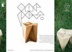 Cardboard Chair, Diy Cardboard Furniture, Cardboard Design, Paper Furniture, Folding Furniture, Cardboard Crafts, Paper Design, Furniture Design, Folding Stool