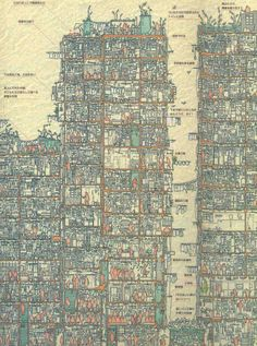 pardalote • maptacular:  An Illustrated Cross Section of Hongkong's Kowloon Walled City