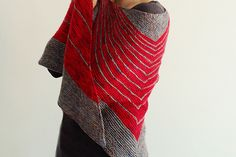 All you need for this all garter stitch shawl is some simple ingredients - your favourite colours and stripes. Unusual shape makes it interesting to knit and to wear. The shawl is worked from top down.