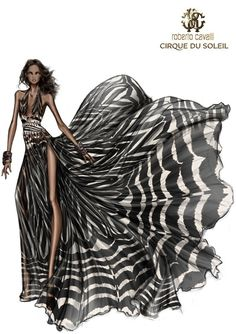 Roberto Cavalli #zebra #dress #moda #wild #blackandwhite #italian style #illustration