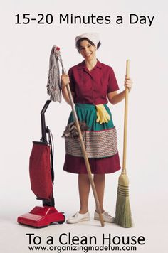 Most helpful tips ever.  How to keep your house clean (not picking up, but maintaining a clean house) in just 15 minutes a day.  This woman knows her stuff!
