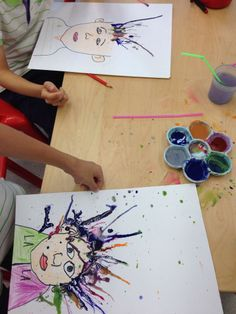 students blow painting! super fun.