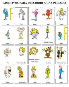 Risultati immagini per adjetivos descripcion persona Spanish Grammar, Spanish Vocabulary, Spanish Teacher, Spanish Classroom, Spanish 101, Spanish Notes, Spanish Lessons, Learning Spanish For Kids, Spanish Language Learning