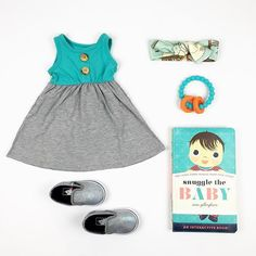 #ootd featuring the button tank dress, knotted headband #chewbeads teether and #vans slip-ons.