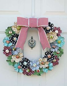Flower fabric door wreath with the Cricut