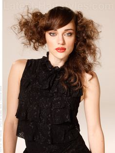 Long Curly Haircut with Asymmetrical Design
