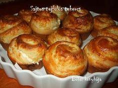 sajtos telfölös tekercs - Böbsi konyhája Hungarian Recipes, Pretzel Bites, Baked Potato, Ham, Herbalism, Muffins, Bakery, Recipies, Food And Drink