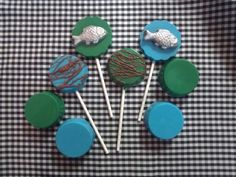 Chocolate Fish lollipops, chocolate suckers & chocolate covered Oreos