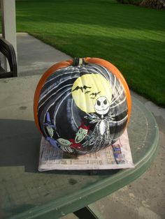 pumpking painted using acrylic paints